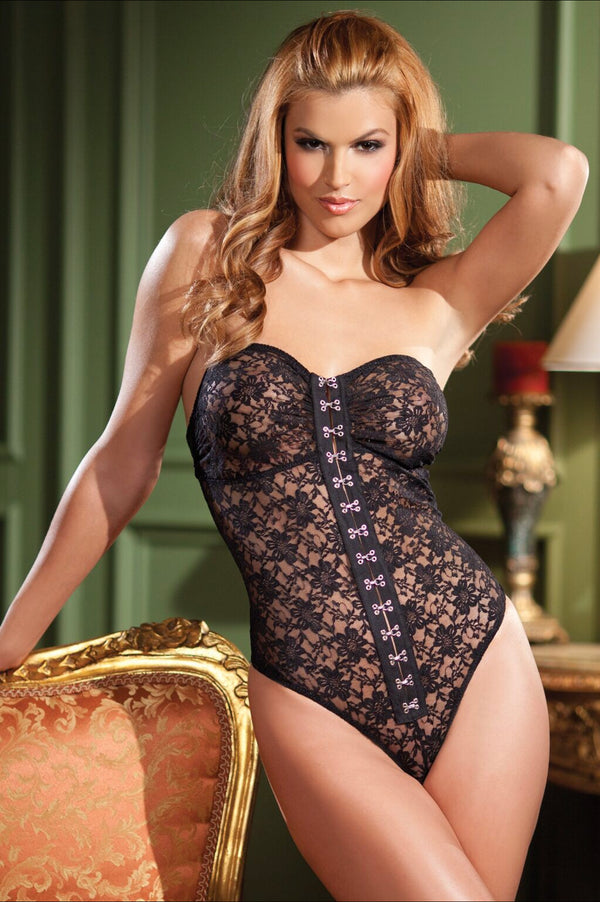 -Piece Black strapless lace body with metal hook and eye front closure