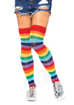 THIGH HIGH LYCRA ACRYLIC RAINBOW SOCKS