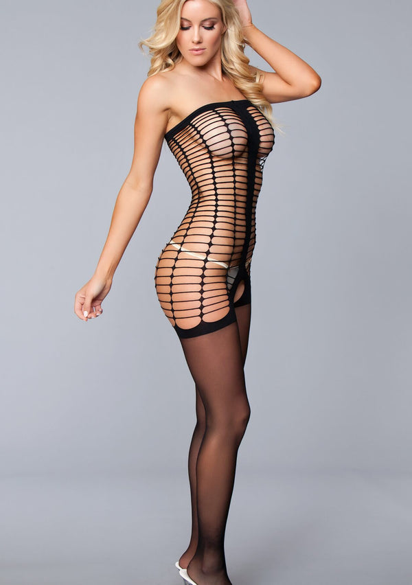 Black Strapless Crotchless Bodystocking Lingerie