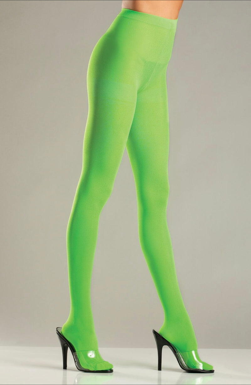 Lime Green Solid Color Pantyhose