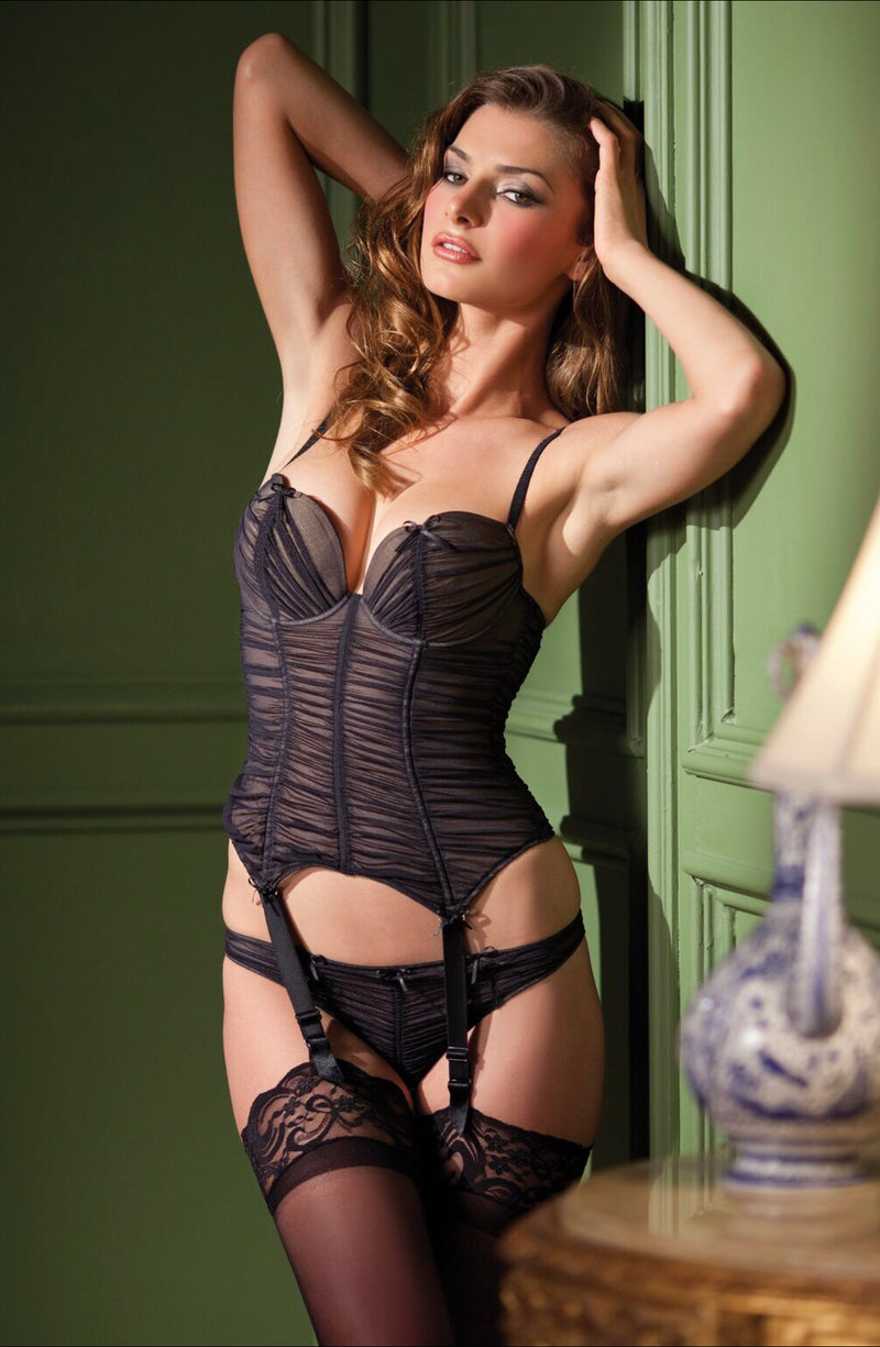 2-Piece Bustier with ruffled tulle garter, adjustable straps and garters. Includes matching Black Thong.