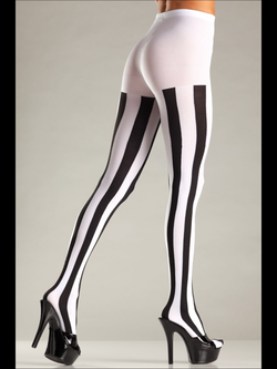 Opaque Vertical Stripe Pantyhose