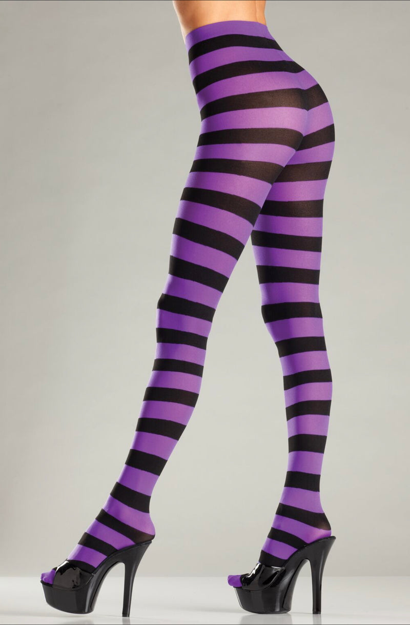 Blk/PURPLE WIDE STRIPED PANTYHOSE