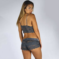 Charcoal Grey Lace Boxers with Elastic Logo Band