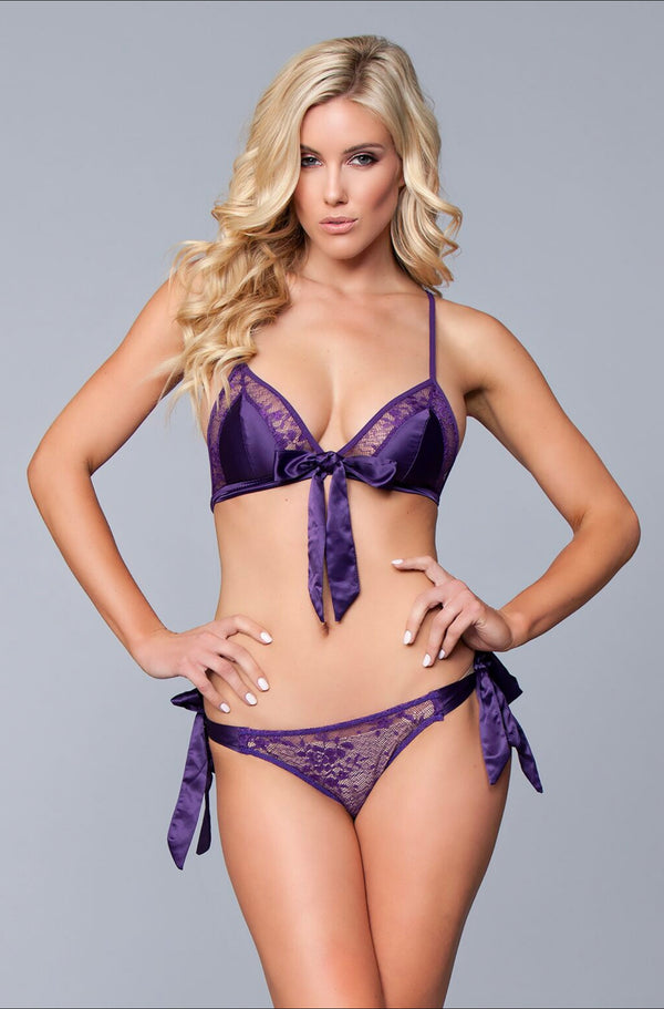 Lace and satin bra and panty set with adjustable bra straps. 92% Polyester. 8% Spandex