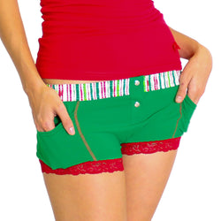 Kelly Green Boxer Brief Christmas Stripe