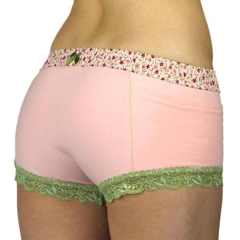 FOXERS PINK BOYSHORTS WITH PINK POSIES WAISTBAND