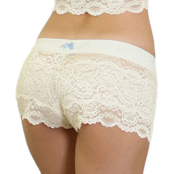Ivory Lace Blue Bow Boxers