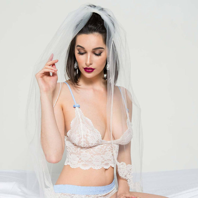 Ivory Lace Bralette Cami Light Blue Dot Straps