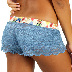 Blue Lace Boxers Rodeo Waistband