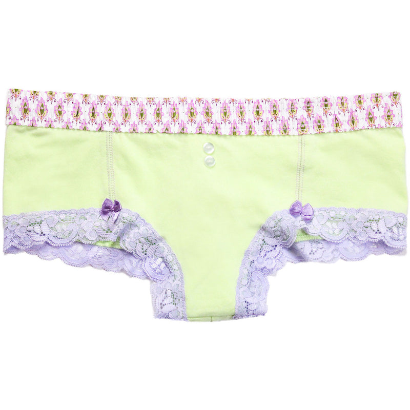 Pale Mint Green Boyshorts Lavender Waistband