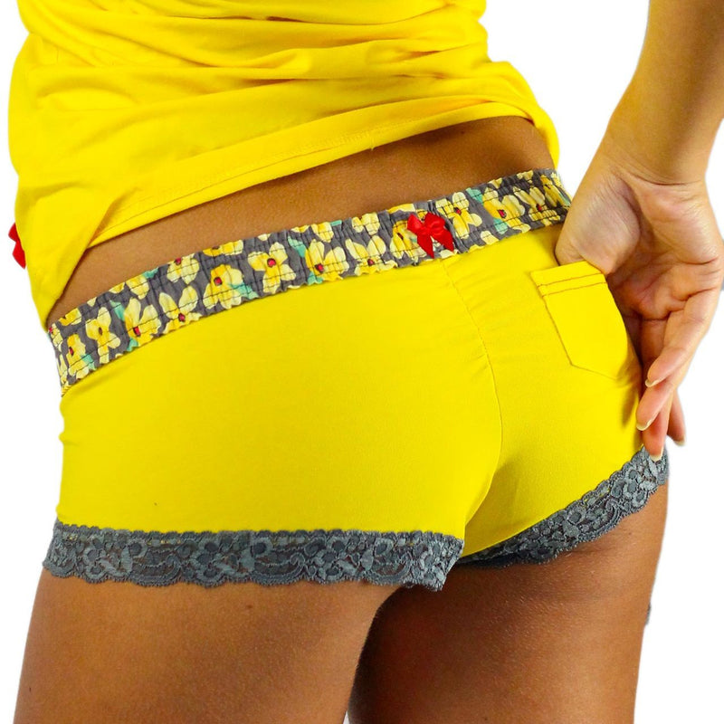 Sunshine Yellow Boyshorts Posies Waistband