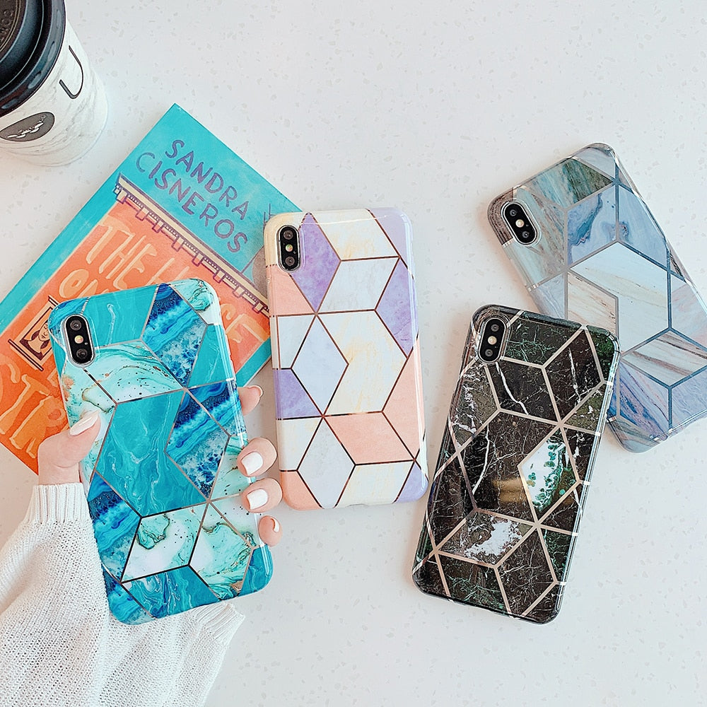 Custom Design Geometric Marble Phone Case Covers For iPhones