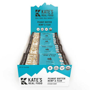 Kate's Real Food Granola Bars 12 Pack | Stash Bar Peanut Butter Hemp and Flax