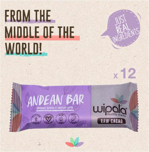 Raw Cacao (Dark Chocolate) Flavored Andean Bar | Display Box of 12 bars