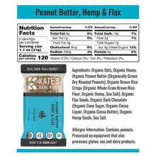 Load image into Gallery viewer, Kate's Real Food Granola Bars 12 Pack | Stash Bar Peanut Butter Hemp and Flax