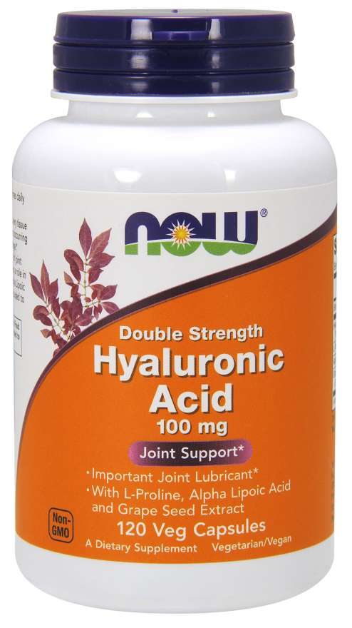 NOW Foods Hyaluronic Acid, Double Strength 100 mg 120 Veg Capsules