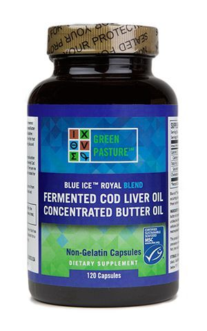 BLUE ICE™ ROYAL BLEND FERMENTED COD LIVER OIL & CONCENTRATED BUTTER OIL - 120 Capsule