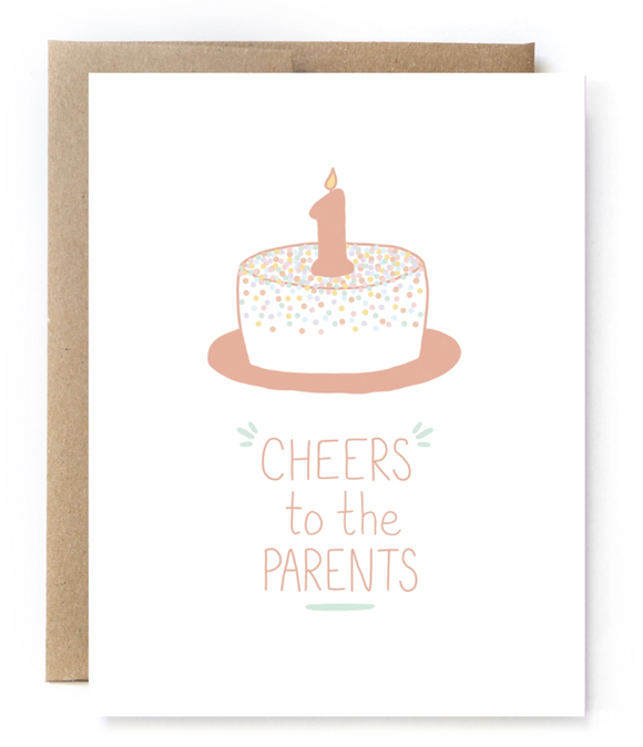 1st Birthday Card - Cheers Parents