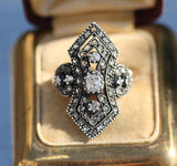 Victorian silver and 18 k yellow gold diamond cocktail ring size 8.75 sizable