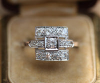1.75 ctw Platinum and diamond art deco ring size 11 sizable