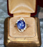 Natural blue star sapphire and diamond ring 14k yellow gold size 6 sizable