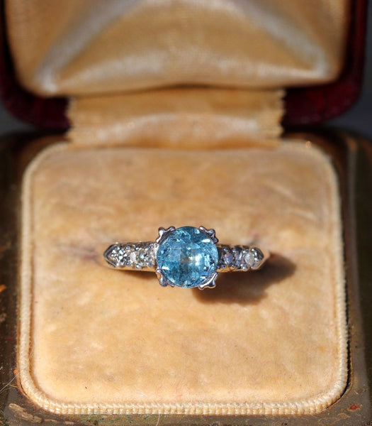 Platinum, diamond and aquamarine fishtail prong ring size 5.25 sizable