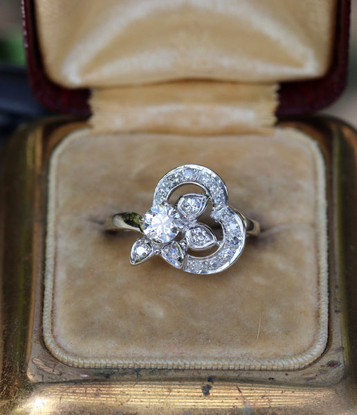 Approximately .75 ctw old cut diamond cocktail ring 14k white gold size 5 (sizable)