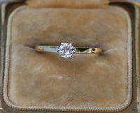 18k yellow and white gold .25 ct old cut diamond solitaire promise ring size 5.25 (sizable)