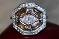 18k/platinum 5 ct old cut marquise diamond, cognac diamond and french cut diamond Art Deco ring size 8 sizable