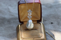 "14k Princess cut diamond (1.58 ctw) and baroque saltwater pearl pendanr on 18"" 14k chain"
