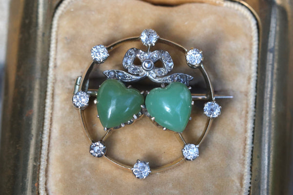 14k yellow gold, silver, old cut diamond jade twin heart brooch