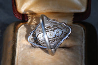 18k white gold Edwardian old European cut diamond ring size 7.5 sizable