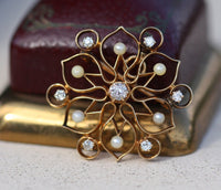 Yellow gold antique old mine cut diamond and pearl brooch/pendant