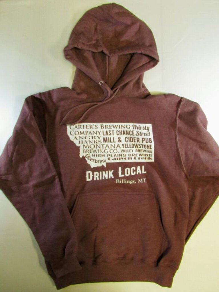 Billings Brewery Hoodie in Maroon, Small