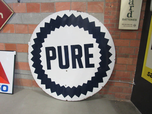 Double Sided Porcelain Pure Gasoline Sign 72