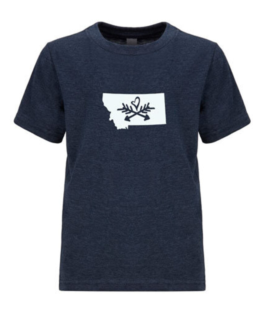 Crew Neck Tee, Hearts & Arrow, Heather Navy, Large