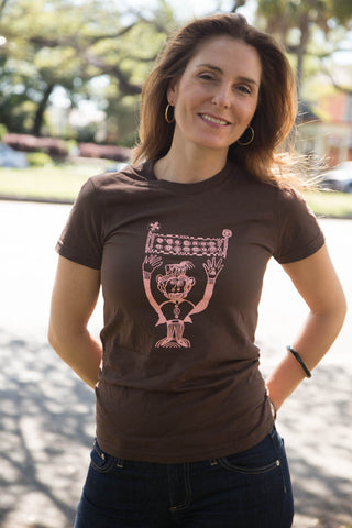 "Ladies Brown ""I've Been Stomped"" Monkey T-Shirt"