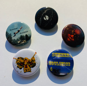"Summer Soulstice Buttons: Variety 5 pack. 1"" Round pin back buttons"