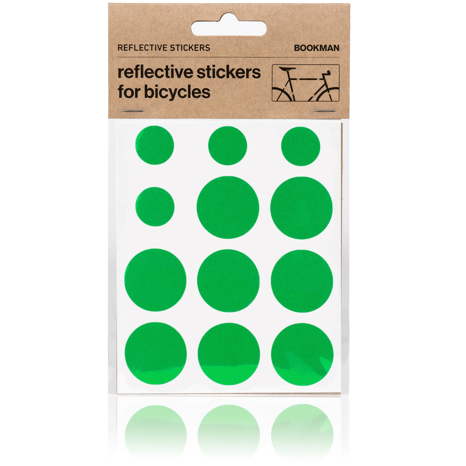 Reflective Dots Stickers for Bikes - Green | BOOKMAN