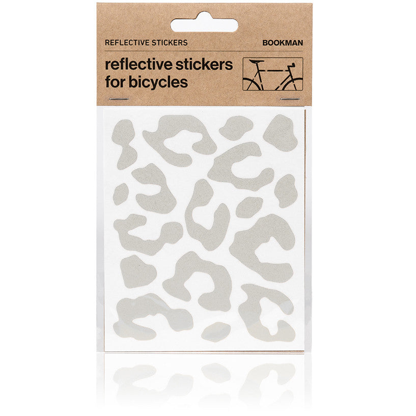 Reflective Stickers for Bikes - Leopard Print - White | BOOKMAN
