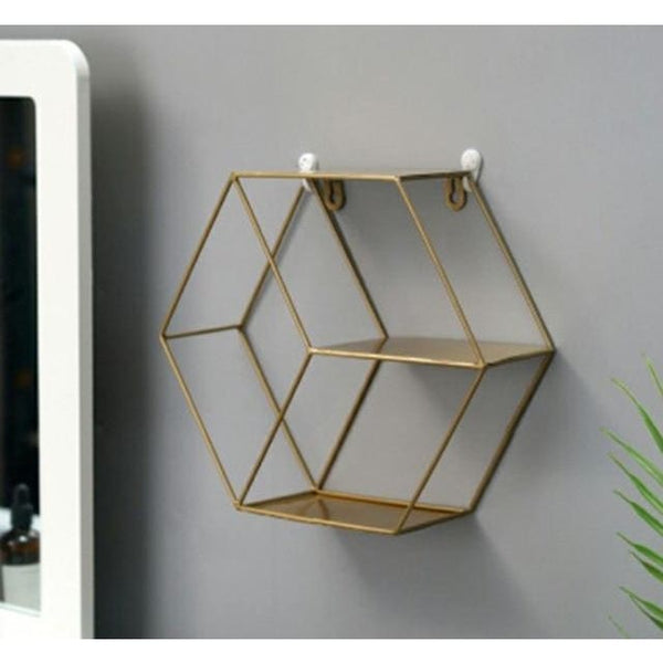 etagere hexagonale doree