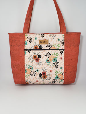 Pelican Tote - Cork and Cotton/Brick/Flowers