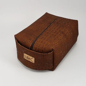 Cork Dopp Kit - Brown Textured Alligator