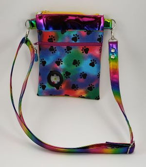 Petey Dog Walking Bag - Rainbow Shimmer Vinyl/Tie Dyed Paws