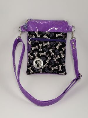 Petey Dog Walking Bag - Lilac Glitter Vinyl/Bones & Paws