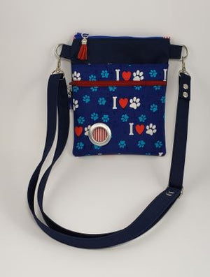 Petey Dog Walking Bag - Navy Waterproof Canvas/I Heart Paws