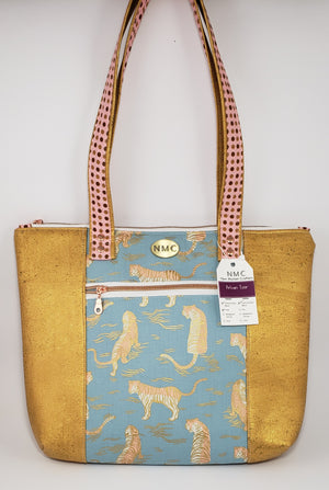 Pelican Tote - Cork & Cotton/Shimmering Gold/Tigers