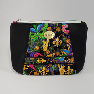 Sunshine Clutch- Vinyl & Cotton/Black/Mardi Gras