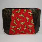 Sunshine Clutch- Vinyl & Cotton/Black & Gold Glitter/Wonder Woman
